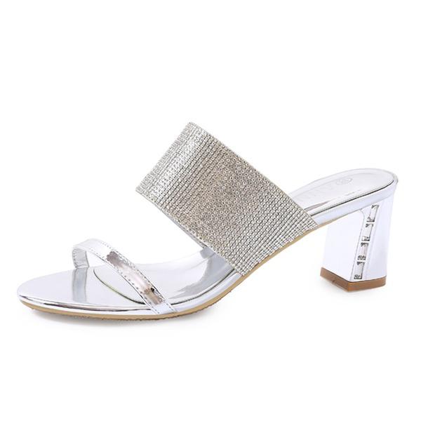 Femmes Cuir verni Talon bottier Sandales Chaussons avec Strass chaussures