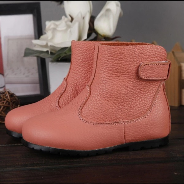 Girl's Real Leather Flat Heel Closed Toe Boots