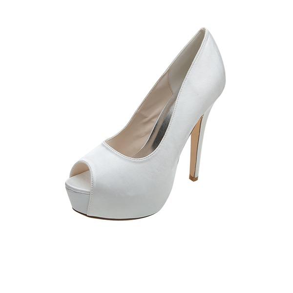 Women's Satin Stiletto Heel Peep Toe Platform Pumps