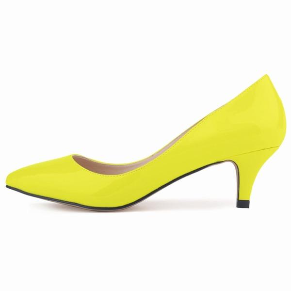 Femmes Cuir verni Talon kitten Escarpins Bout fermé chaussures