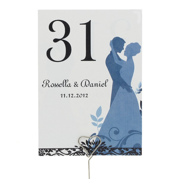 Personalized Bride And Groom Pearl Paper Table Number Cards (Set of 10)