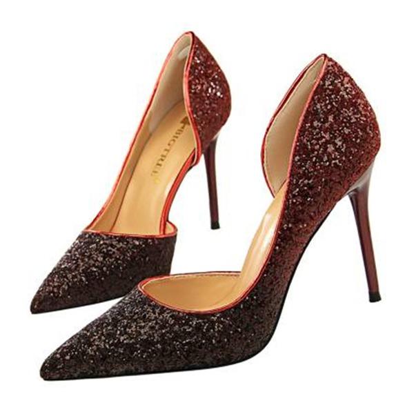 Женщины Мерцающая отделка Высокий тонкий каблук Сандалии На каблуках Закрытый мыс с блестками обувь