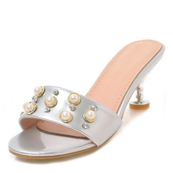 Femmes Similicuir Cuir verni Talon stiletto Sandales Chaussons avec Strass Rivet chaussures