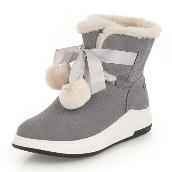Femmes Suède Talon bas Bout fermé Bottes Bottines Bottes neige avec Bowknot Dentelle Fourrure chaussures