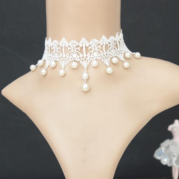 Schöne Legierung Faux-Perlen Lace mit Nachahmungen von Perlen Lace Damen Mode-Halskette