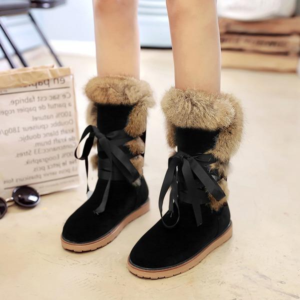Mulheres Camurça Sem salto Botas Botas na panturrilha com Aplicação de renda Pele sapatos