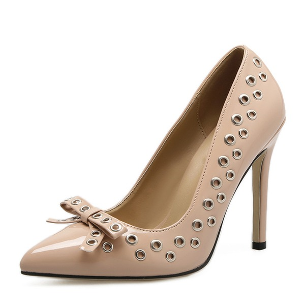 Women's PU Stiletto Heel Pumps Closed Toe With Bowknot shoes