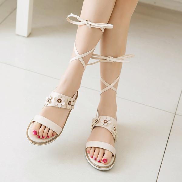 Женщины кожа Низкий каблук Сандалии На плокой подошве Открытый мыс с Шнуровка обувь