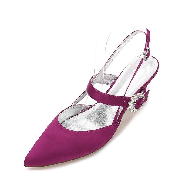 Kvinder silke lignende satin Stiletto Hæl Lukket Tå Pumps sandaler Slingbacks Mary Jane med Spænde