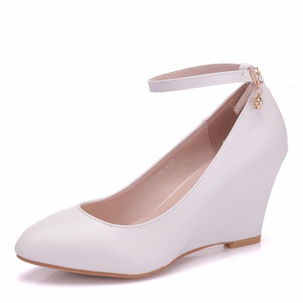 Women's Leatherette Wedge Heel Closed Toe Wedges