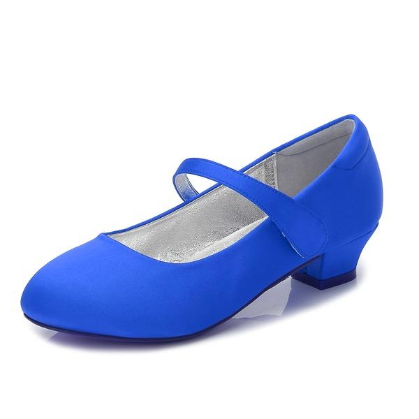 Flicka rund tå Stängt Toe Mary Jane Silk som Satin låg klack Flower Girl Shoes med Strass Kardborre