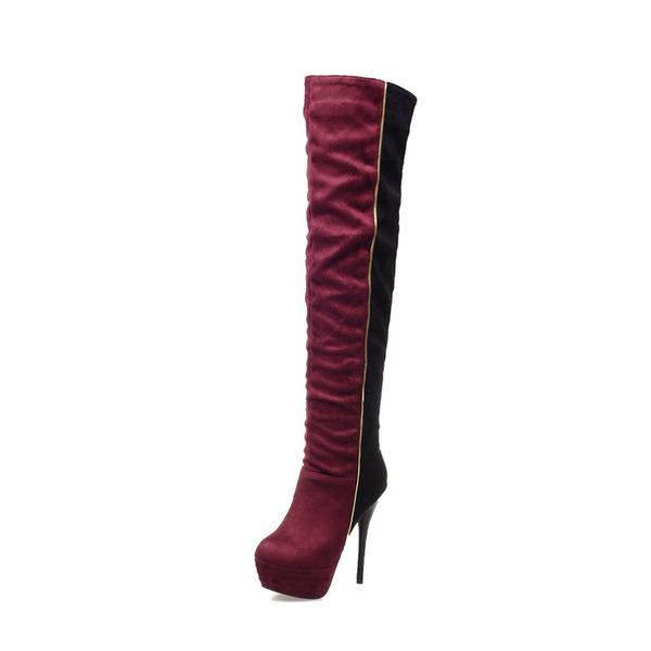 Frauen Veloursleder Stöckel Absatz Absatzschuhe Plateauschuh Stiefel Stiefel über Knie mit Zweiteiliger Stoff Schuhe