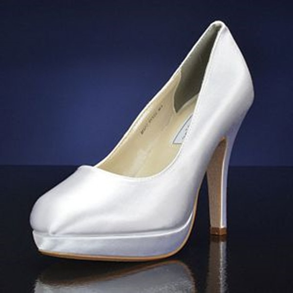 Women's Satin Stiletto Heel Closed Toe Platform Pumps With Others