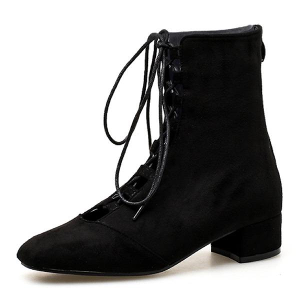 Kadın Süet Alçak Topuk Kapalı Toe Bot Ayak bileği Boots Ile Bağcıklı ayakkabı