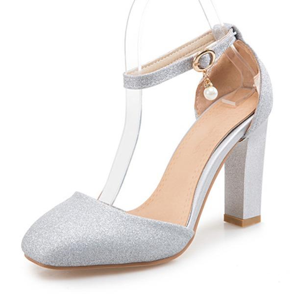 Kvinner Glitrende Glitter Stor Hæl Sandaler Pumps Lukket Tå med Spenne sko