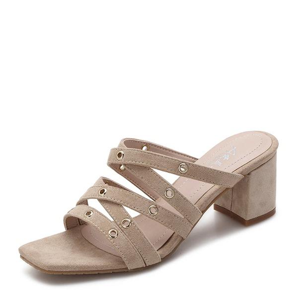 Frauen Veloursleder Stämmiger Absatz Sandalen Absatzschuhe Peep Toe Schuhe