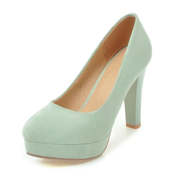 Женщины Замша Высокий тонкий каблук На каблуках Платформа Закрытый мыс с Другие обувь