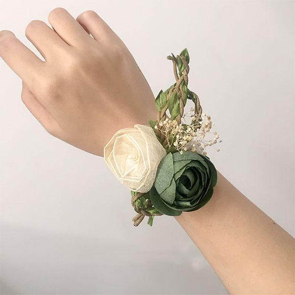 Desabrochar Flor de seda Conjuntos de flores - Buquê de pulso/Alfinete de lapela