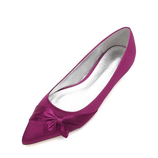 Vrouwen zijde als satijn Flat Heel Closed Toe Flats met strik