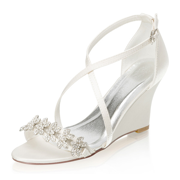 Women's Silk Like Satin Wedge Heel Peep Toe Wedges With Buckle Rhinestone