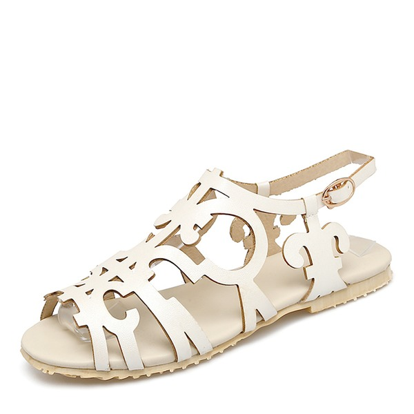 Vrouwen Kunstleer Flat Heel Sandalen Flats Peep Toe Slingbacks met Gesp schoenen