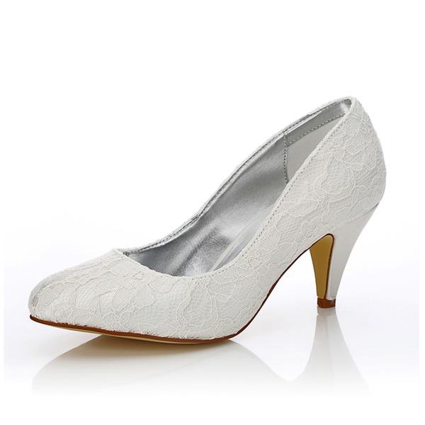 Mulheres Renda Cetim Salto cone Fechados Bombas Sapatos Tingíveis