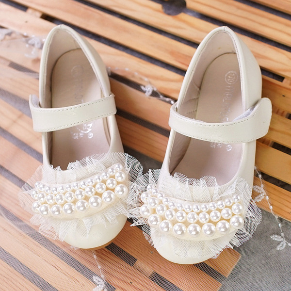 Girl's Microfiber Leather Flat Heel Round Toe Flats With Beading Stitching Lace Velcro