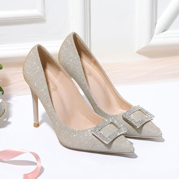 Women's Leatherette Stiletto Heel Closed Toe Pumps With Sparkling Glitter Crystal