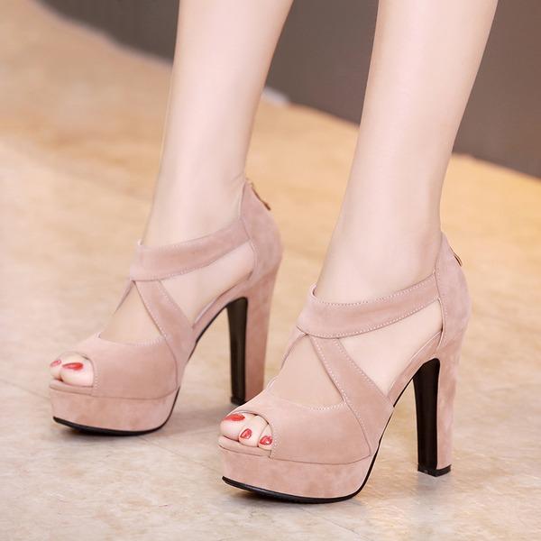 Naisten Mokkanahka Chunky heel Sandaalit Avokkaat Platform Peep toe jossa Vetoketju Ontto-out kengät