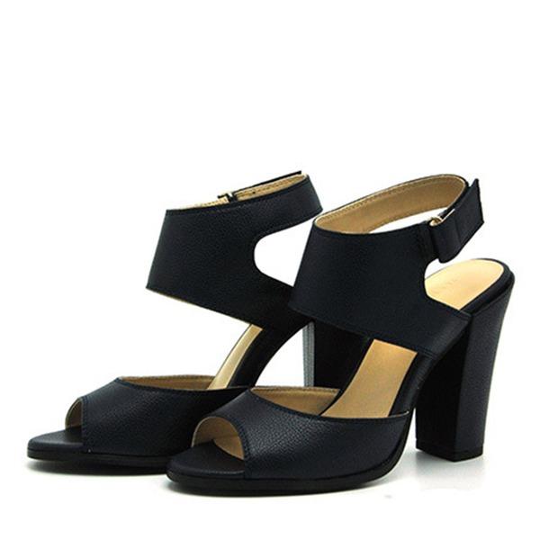 Naisten PVC Chunky heel Sandaalit Avokkaat Peep toe Kantiohihnakengät jossa Solki kengät