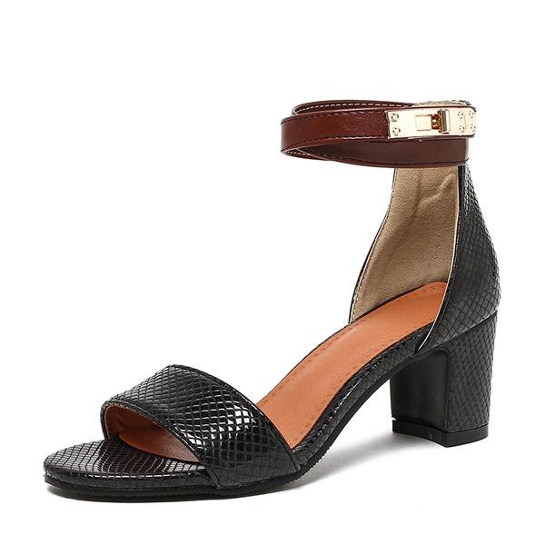 Vrouwen PU Chunky Heel Sandalen Pumps Peep Toe met Gesp schoenen