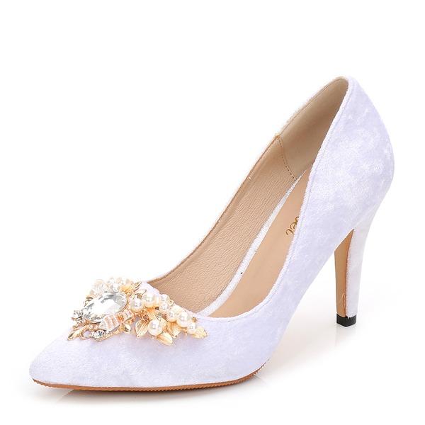 Frauen Veloursleder Stöckel Absatz Absatzschuhe Geschlossene Zehe mit Strass Nachahmungen von Perlen Schuhe