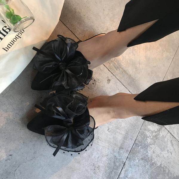 De mujer Ante Tacón plano Planos Cerrados Solo correa Pantuflas con Bowknot zapatos