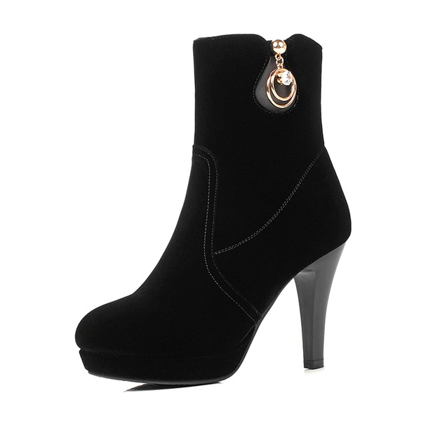 Women's Suede Stiletto Heel Pumps Platform Boots Mid-Calf Boots With Rhinestone Zipper shoes