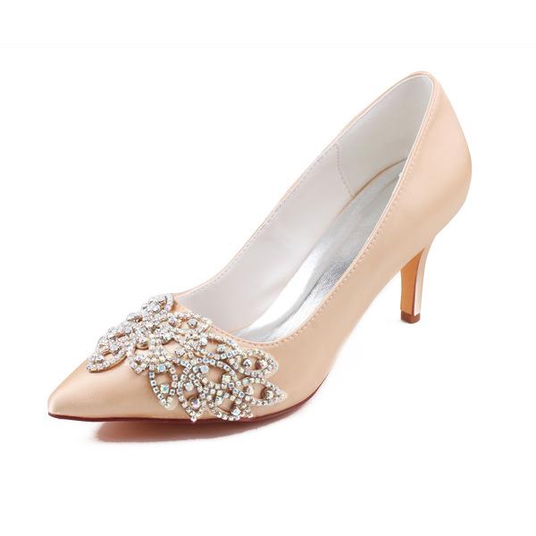Женщины шелка как атласное Высокий тонкий каблук На каблуках с хрусталь