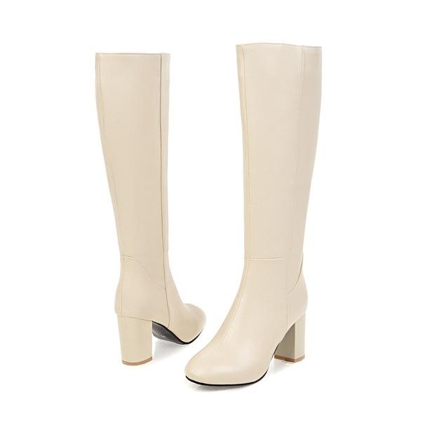 Frauen PU Stämmiger Absatz Absatzschuhe Stiefel Kniehocher Stiefel mit Reißverschluss Schuhe