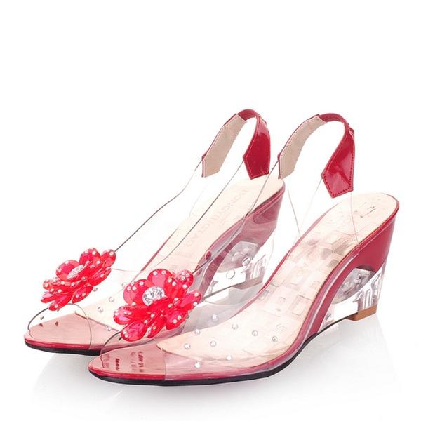 Frauen Kunstleder Keil Absatz Sandalen Keile Peep Toe mit Blume Schuhe