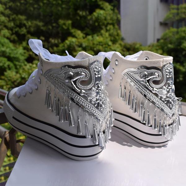 Mulheres Veludo Plataforma Sem salto Fechados com Aplicação de renda Franja sapatos