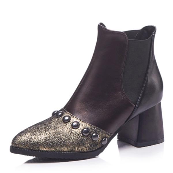 Kvinder Kunstlæder Stor Hæl Støvler Ankelstøvler med Nitte Delt Bindeled sko