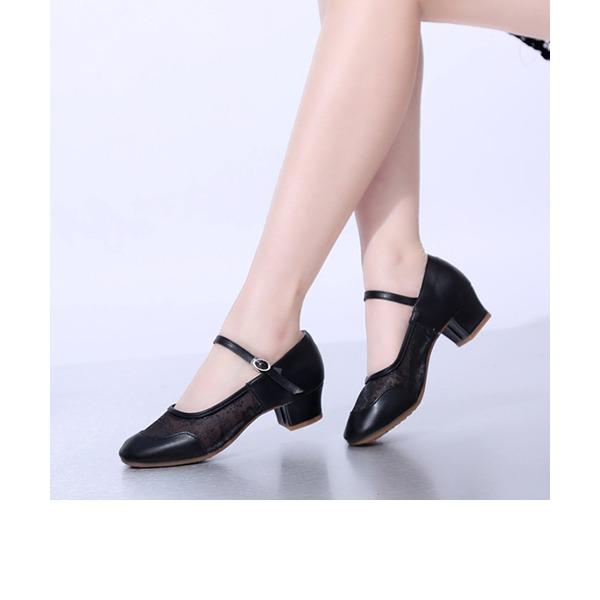 Dla kobiet Skóra ekologiczna Koronka Tkanina mesh Obcasy Czólenka buty do butów Buty do Tańca