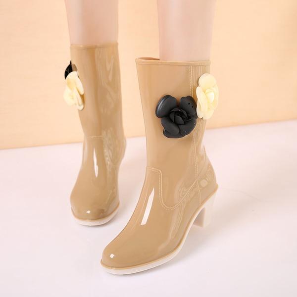 Kvinner PVC Stor Hæl Støvler Mid Leggen Støvler Gummistøvler med Blomst sko