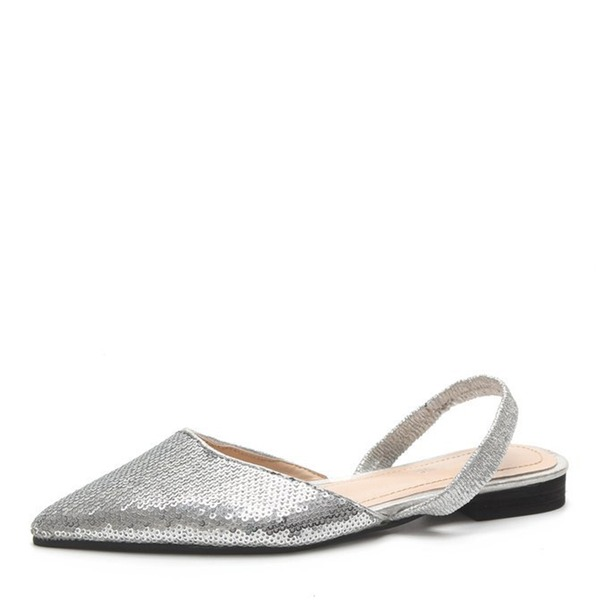 Frauen Kunstleder Flascher Absatz Sandalen Flache Schuhe Slingpumps mit Pailletten Schuhe