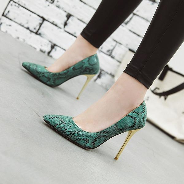 Женщины кожа Высокий тонкий каблук На каблуках Закрытый мыс обувь