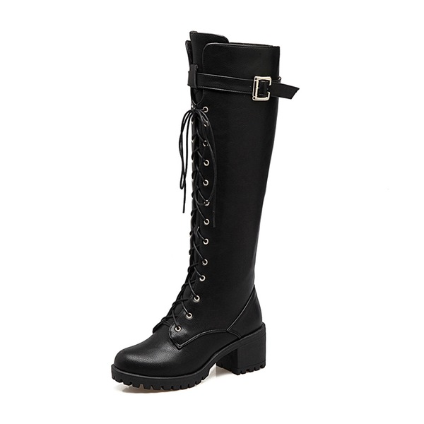 Women's Leatherette Chunky Heel Pumps Boots Knee High Boots Martin Boots With Buckle Lace-up shoes