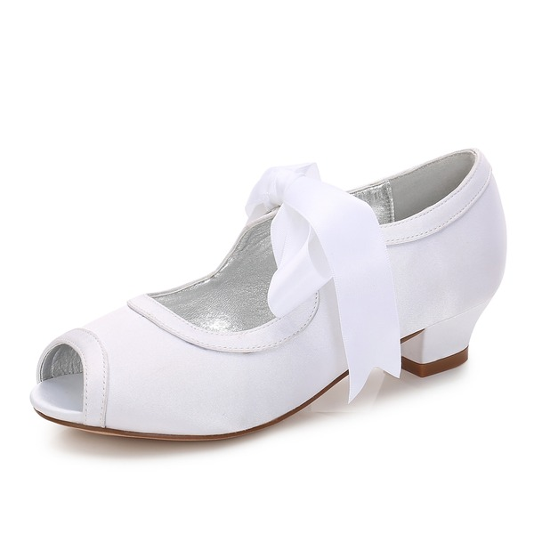 Flicka rund tå Mary Jane Silk som Satin låg klack Flower Girl Shoes med Bowknot