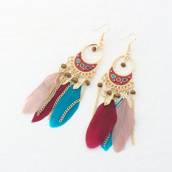 Schöne Legierung Feder Damen Art-Ohrringe