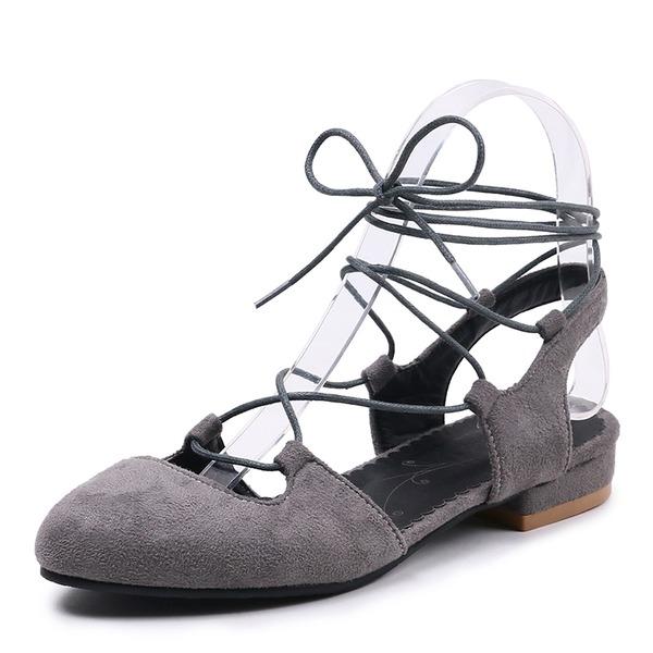 Frauen Veloursleder Niederiger Absatz Sandalen Slingpumps mit Zuschnüren Hohl-out Schuhe