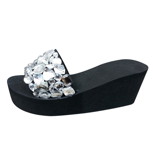 Naisten Kankaalla Wedge heel Sandaalit Tossut jossa Tekojalokivi kengät
