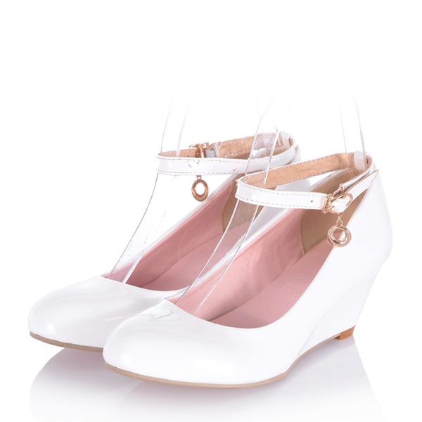Kvinder Patenteret Læder Kile Hæl Kiler med Spænde sko