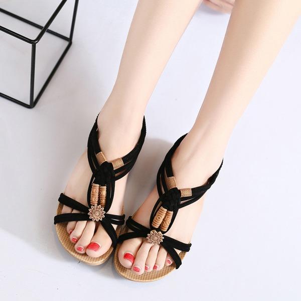 Dla kobiet Zamsz Obcas Koturnowy Sandały Otwarty Nosek Buta Bez Pięty Z Klamra Łączona obuwie